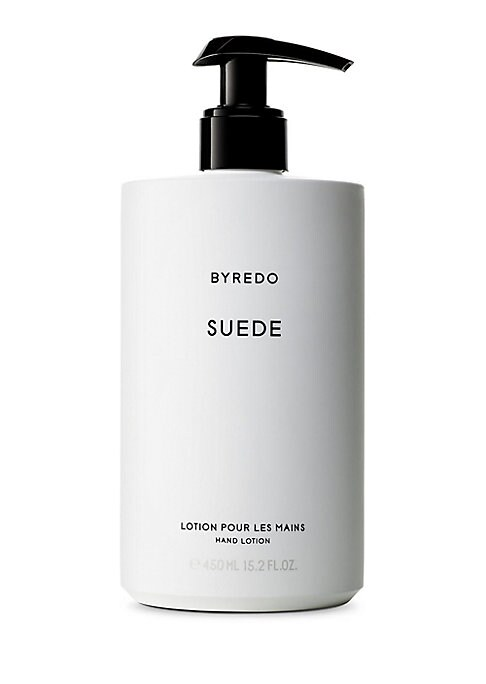 Image of A new collection dedicated to the hand care and composed of 2 different formats: a hand wash and hand lotion. Two new scents have been specifically created for this launch: vetyver and suede. Top Notes: Bergamot, fresh aldehydes, and pear. Heart Notes: Li
