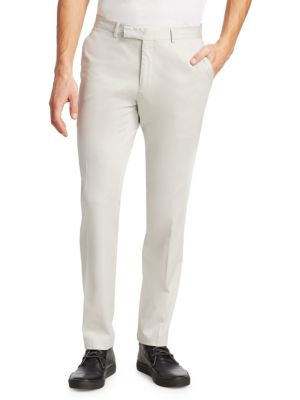 "Image of Stretch twill pants with a slim fit. Belt loops. Zip fly with hook-and-bar closure. On-seam pockets. Back buttoned welt pockets. Rise, about 11"".Inseam, about 31"".Lyocell/cotton/elastane. Dry clean. Imported."