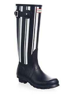 Striped Waterproof Rubber Rain Boots NAVY WHITE. Product image