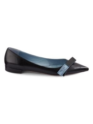 Etiquette Leather Flats by Prada