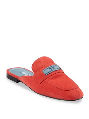 Suede Slide Loafers by Prada
