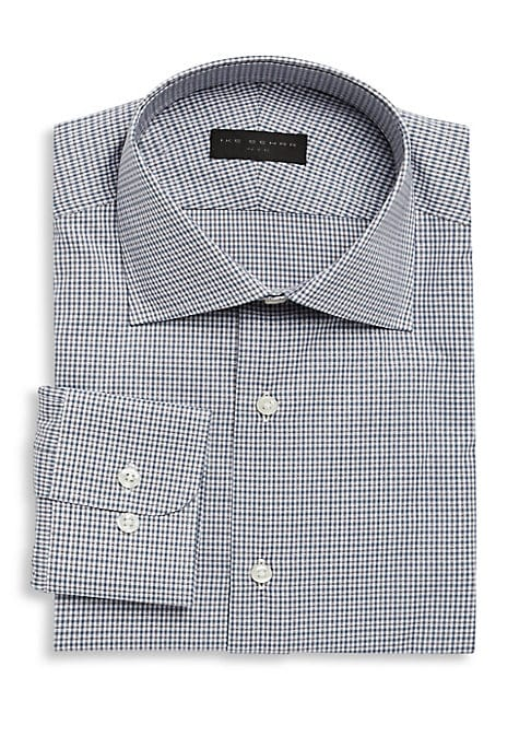 Image of Classic dress shirt featuring printed allover. Spread collar. Long sleeves. Buttoned barrel cuffs. Button front. Regular-fit. Cotton. Machine wash. Made in Italy.