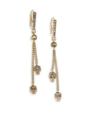 ALEXANDER MCQUEEN Swarovski Crystal Thin Chain Drop Earrings, Pale Gold