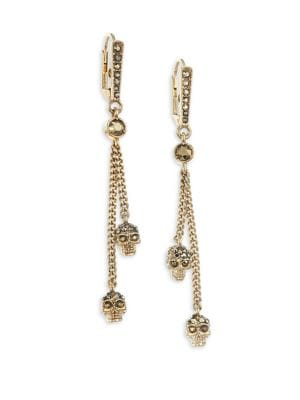 Swarovski Crystal Thin Chain Drop Earrings by Alexander Mc Queen