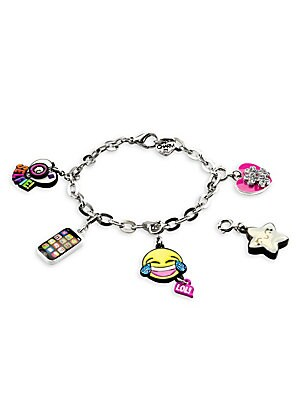 "Image of This bracelet features interchangeable charms and an included gift box Enamel, acrylic, glitter, base metal Length, about 7.5"" Charm diameter, about 1"" Gift box, 3.5""W x 4.75""H x 1.25""D Lobster clasp Made in USA. Children's Wear - Infant Toys And Gifts >"