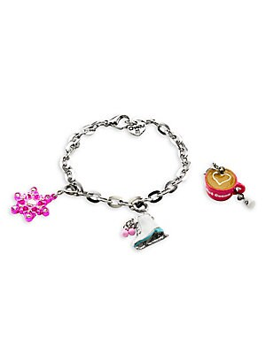 """Image of This bracelet features interchangeable charms and an included gift box Enamel, poly resin, acrylic, glitter, base metal Length, about 7.5"""" Charm diameter, about 1"""" Gift box, 3.5""""W x 4.75""""H x 1.25""""D Lobster clasp Made in USA. Children's Wear - Infant Toys"""