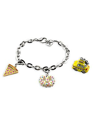 """Image of This bracelet features interchangeable charms and an included gift box Enamel, acrylic, glitter, poly resin, base metal Length, about 7.5"""" Charm diameter, about 1"""" Gift box, 3.5""""W x 4.75""""H x 1.25""""D Lobster clasp Made in USA. Children's Wear - Infant Toys"""