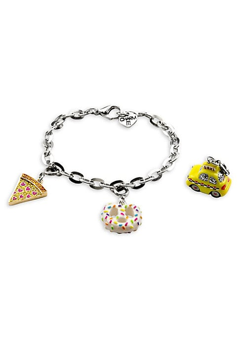 """Image of This bracelet features interchangeable charms and an included gift box. Enamel, acrylic, glitter, poly resin, base metal. Length, about 7.5"""".Charm diameter, about 1"""".Gift box, 3.5""""W x 4.75""""H x 1.25""""D.Lobster clasp. Made in USA."""