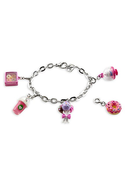 """Image of This bracelet features interchangeable charms and an included gift box. Enamel, acrylic, poly resin, base metal. Length, about 7.5"""".Charm diameter, about 1"""".Gift box, 3.5""""W x 4.75""""H x 1.25""""D.Lobster clasp. Made in USA."""