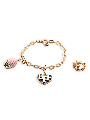 """Image of This bracelet features interchangeable charms and an included gift box Enamel, acrylic, poly resin, glitter, base metal Length, about 7.5"""" Charm diameter, about 1"""" Gift box, 3.5""""W x 4.75""""H x 1.25""""D Lobster clasp Made in USA. Children's Wear - Infant Toys"""