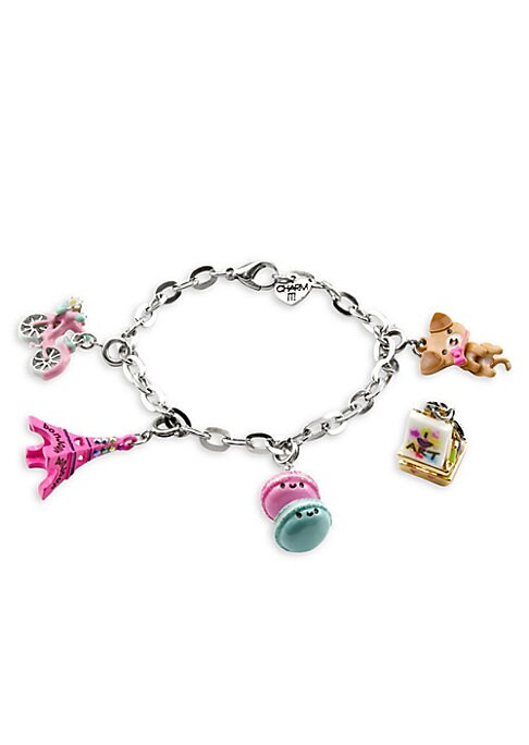 """Image of This bracelet features interchangeable charms and an included gift box. Enamel, acrylic, poly resin, glitter, base metal. Length, about 7.5"""".Charm diameter, about 1"""".Gift box, 3.5""""W x 4.75""""H x 1.25""""D.Lobster clasp. Made in USA."""