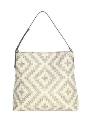 ERIC JAVITS Squishee Up Woven Tote Bag in Taupe Glow