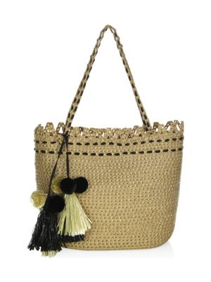 Squishee&Reg; Mita Tassel Tote Bag in Natural/ Black