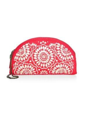 ERIC JAVITS Sandra Embellished Half-Moon Clutch Bag in Red