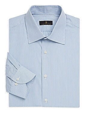 """Image of Pinstripes add elegance to classic shirt Spread collar Long sleeves Button front Button cuffs About 29"""" from shoulder to hem Cotton Machine wash Made in Italy. Men Luxury Coll - Designer Dress Shirts. Ike Behar. Color: Blue. Size: 16.5."""