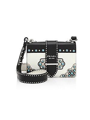 2e40df7b4ca5af Prada - Cahier Texas Embellished Leather Crossbody Bag