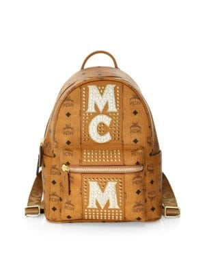 Stark Stud Stripe Coated Canvas Backpack in Brown