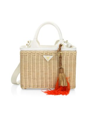 Midollino Tasseled Canvas And Leather-Trimmed Wicker Tote in Natural