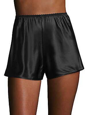 """Image of Sexy knickers tailored from silk fabric Elasticized waistband Rise, about 8"""" Inseam, about 4"""" Leg opening, about 20"""" Silk Dry clean Imported. Lingerie - Modern Sleepwear. Ginia. Color: Black. Size: Large."""