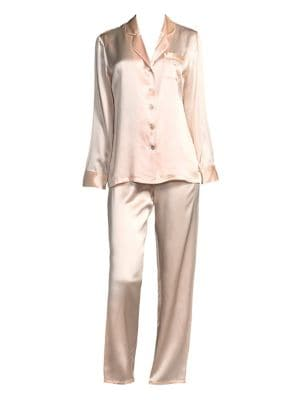 Ginia Fleurette Silk Pajama Top and Pants
