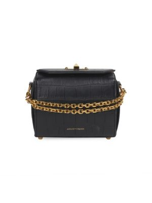 Alexander Mcqueen Croc Embossed Leather Box Bag