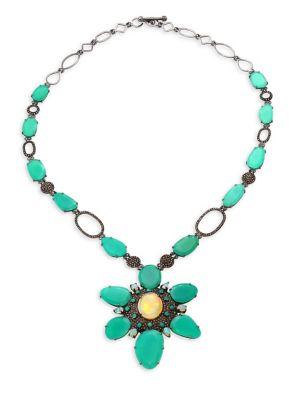 BAVNA Diamond Silver Necklace in Blue