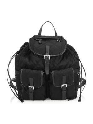 Large Tessuto Impunturato Backpack, Black