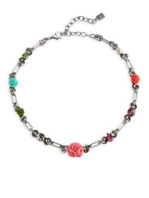 Dannijo  Caroll Multicolor Crystal & Rose Motif Necklace