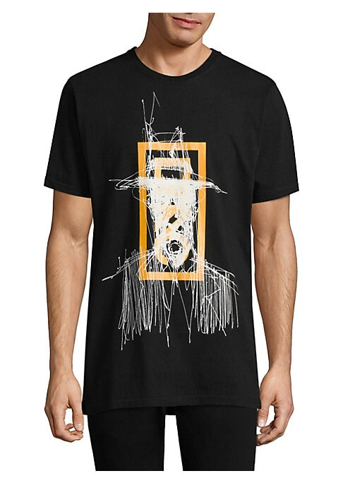 """Image of Cotton tee with printed graphic on front. Crewneck. Short sleeves. Banded cuffs. About 28"""" from shoulder to hem. Cotton. Machine wash. Imported."""