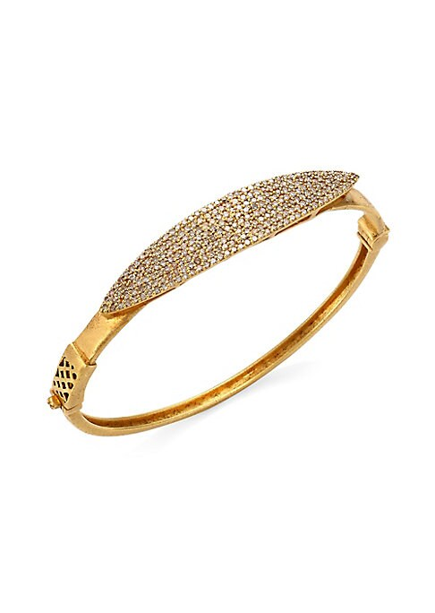 """Image of Brilliant pave accents a burnished gold bangle. Diamonds, 1.72 tcw.18K yellow gold. Diameter, 2.4"""".Hinge clasp. Imported."""