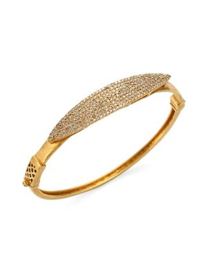 "Image of Brilliant pave accents a burnished gold bangle. Diamonds, 1.72 tcw.18K yellow gold. Diameter, 2.4"".Hinge clasp. Imported."
