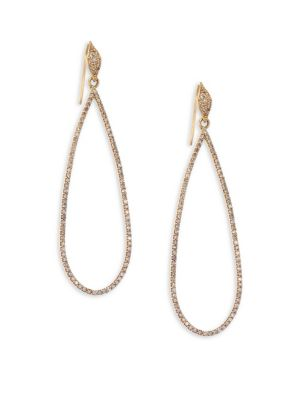 "Image of Bold teardrop earrings shimmer with allover pave. Diamonds, 1.33 tcw.18K yellow gold. Ear wire. Length, about 2"".Imported."
