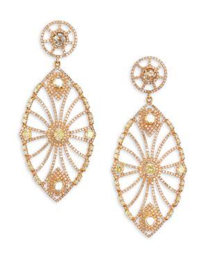 BAVNA 18K Gold & Diamond Oversize Drop Earrings in Rose Gold