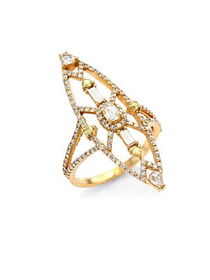 Image of Art-deco inspired ring with dramatic mixed stones Diamonds, 1.02 tcw 18K rose gold Length, 1.4 Width, 0.4 Imported. Fine Jewelry - Fine Designer Jewelry C > Saks Fifth Avenue. Bavna. Color: Yellow Gold. Size: 7.