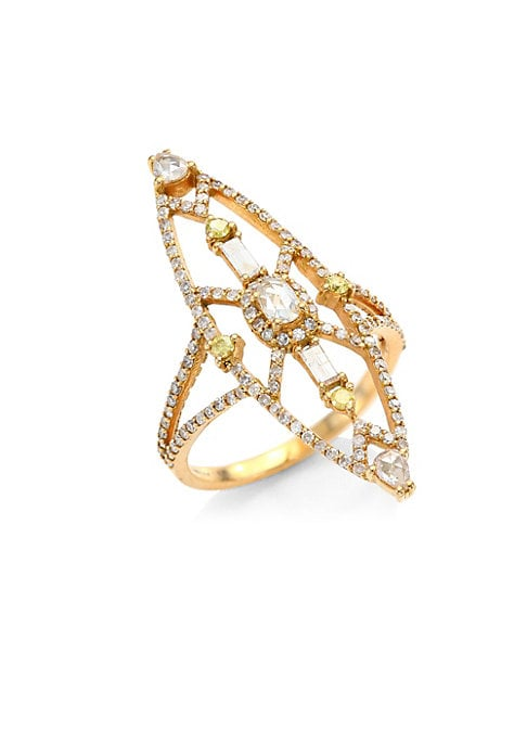 """Image of Art-deco inspired ring with dramatic mixed stones. Diamonds, 1.02 tcw.18K rose gold. Length, 1.4"""".Width, 0.4"""".Imported."""