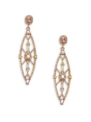 BAVNA Colored Diamond Drop Earrings in Rose Gold
