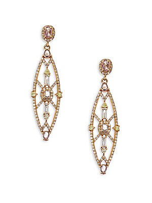 Image of Colored diamonds shine in art deco-inspired shape Diamonds, 1.86 tcw 18K rose gold Post back Length, about 1.5 Imported. Fine Jewelry - Fine Designer Jewelry C > Saks Fifth Avenue. Bavna. Color: Rose Gold.