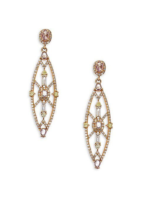 """Image of Colored diamonds shine in art deco-inspired shape. Diamonds, 1.86 tcw.18K rose gold. Post back. Length, about 1.5"""".Imported."""