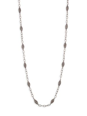 BAVNA Diamond Pavé Bead & Chain Necklace in Silver
