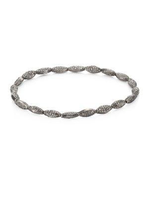 BAVNA Pavé Diamond Beaded Bracelet in Silver