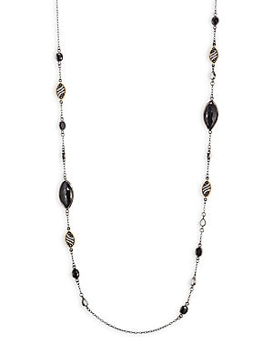 Image of Delicate long chain links beautiful stones Diamonds, 2.84 tcw Black spinel, 32.45 tcw 18K yellow gold Rhodium Sterling silver Length, about 42 Lobster clasp Imported. Fine Jewelry - Fine Designer Jewelry C > Saks Fifth Avenue. Bavna.