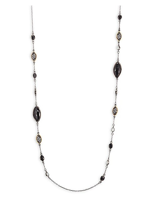 """Image of Delicate long chain links beautiful stones. Diamonds, 2.84 tcw. Black spinel, 32.45 tcw.18K yellow gold. Rhodium. Sterling silver. Length, about 42"""".Lobster clasp. Imported."""