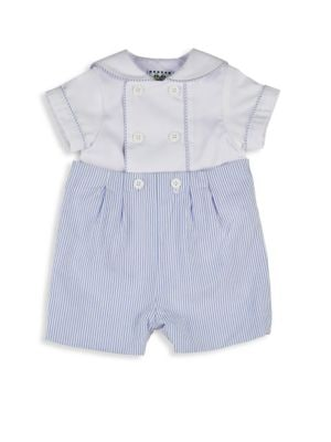 Image of Two-piece set that includes double-breasted shirt with stripe piping and cotton button-on shorts. Polyester/cotton lining. Machine wash. Imported. Shirt. Peter Pan collar. Short sleeves. Button front. Polyester/cotton. Shorts. Button closure on waist. Cot