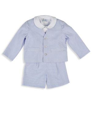 Image of Three-piece seersucker set that includes patterned cotton jacket, shirt with stripe piping on collar and patterned cotton short. Polyester/cotton lining. Machine wash. Imported. Jacket.V-neck. Long sleeves. Button front. Side welt pockets. Cotton. Shirt.