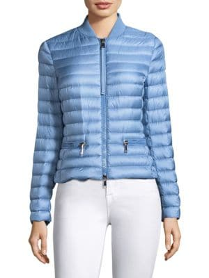 Ribbed Knit-Trimmed Quilted Shell Jacket, Pastel Blue
