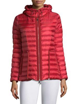 Raie Hooded Down Jacket, Red