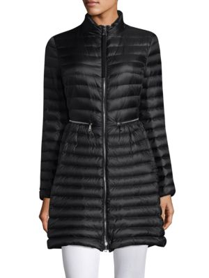 Agatelon Zip-Front Quilted Puffer Coat, Black
