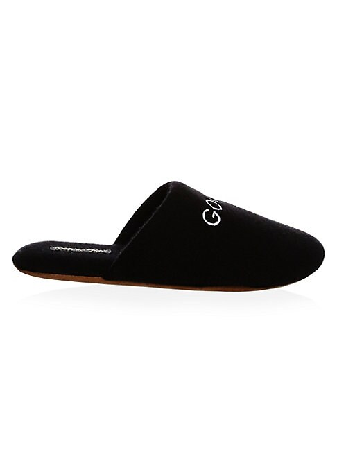 """Image of Contrast """"Good Night"""" embroidery on a cashmere pair. Cashmere upper. Round toe. Slip-on style. Nylon and polyurethane sole. Imported."""
