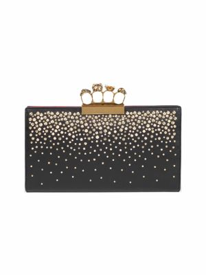 Knuckle Crystal Flat Pouch - Black