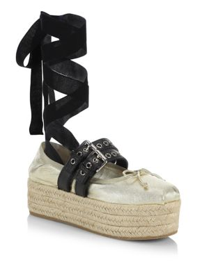 Miu Miu  Leather Ankle-Wrap Platform Espadrilles